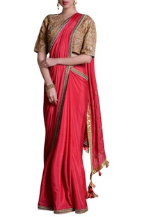 Hand embroidered sari with border