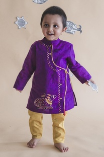 Threadwork embroidered angrakha kurta set