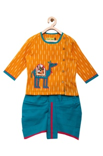 Camel embroidered kurta with dhoti pants