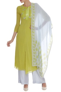 Peacock Embroidered Kurta Set