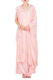 Foil print kaftan tunic with cowl skirt