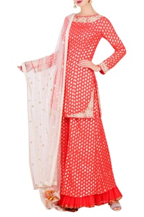 Lotus foil print short kurta with sharara & dupatta