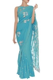 Applique work pre draped  sari with sleeveless blouse