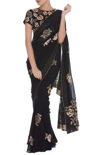 Applique work pre draped sari with matching blouse