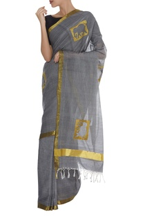 Elephant Motif Zari Embroidered Saree & unstitched blouse