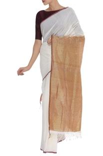 Zari Embroidered Saree & unstitched blouse