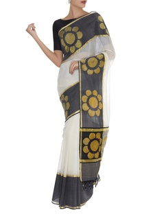 Floral Zari Embroidered Saree & unstitched blouse