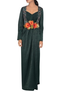 Embroidered collar maxi dress