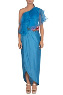 3D embroidered flared yoke gown