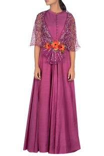 Hand embroidered draped gown