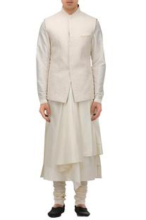 Handcrafted quilted textured nehru jacket