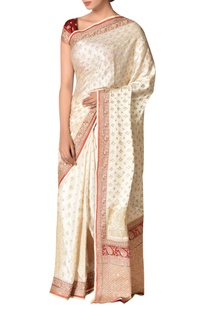 Embroidered sari with unstitched blouse