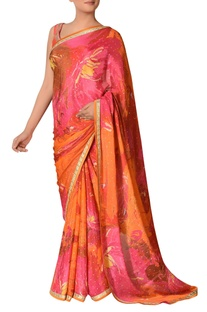 Floral print & embroidered sari with unstitched blouse