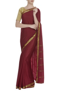 Kanjeevaram sari with handwoven border & unstitched blouse