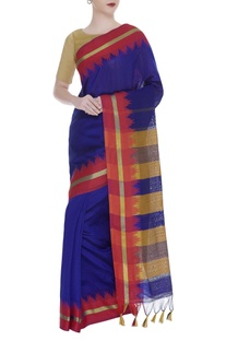Handwoven sari with stripe pattern and unstitched blouse