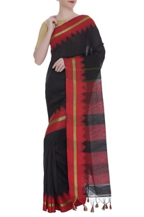 Handwoven sari with stripe detail & unstitched blouse