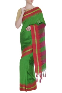 Stripe detail silk woven sari with unstitched blouse