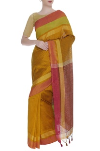 Woven border sari with unstitched blouse