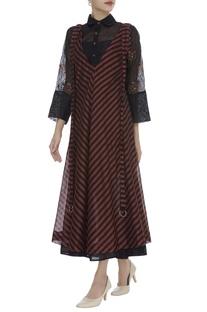 Striped & Layered Midi Dress