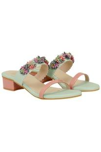Embellished slip-on box heel sandals