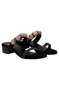 Embellished slip-on block heel sandals