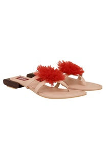 Pom pom detail slip-on sandals