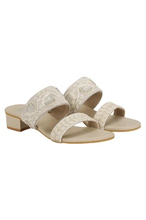 Zari work slip-on sandals