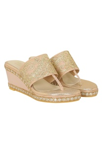 Gota embroidered slip-on wedges