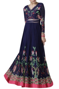Printed and Pleated Gown