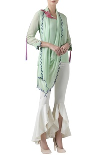 Embroidered Top with Drape