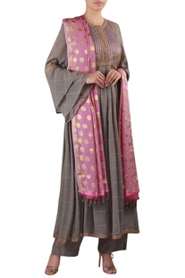 Bell sleeves anarkali kurta with pants & embroidered dupatta