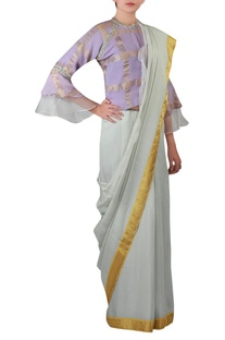 Bell sleeves blouse with Embroidered sari