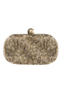 Floral Embroidered Flapover Clutch