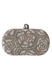 Oval Bead Embroidered Clutch