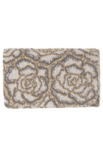 Japanese Bead Embroidered Flat Flapover Clutch