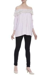 Stripe off-shoulder lace trim blouse