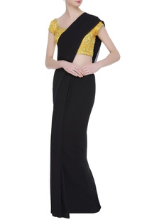 Gold dori work embroidered saree blouse