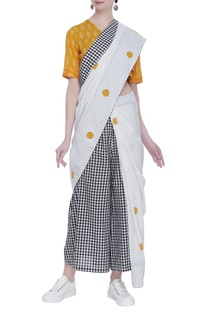 Block print sari with tassel detail