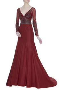 Plunging neckline embroidered gown