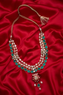 Meenakari pendant necklace with pearls