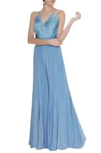 Flared jumpsuit with pleated yoke