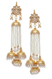 Pearl jhumka dangling earrings