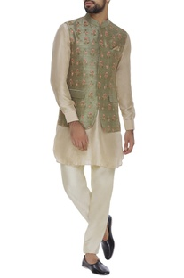 Raw silk booti floral embroidered jacket