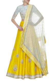Booti work lehenga with blouse & embroidered dupatta