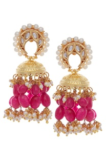 Jhumka chandbali earrings.