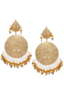 Chandbali earrings with dangling beads