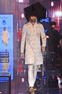 Vanilla silk kurta set with marigold embroidered sherwani