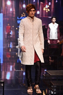 White embroidered sherwani with wine kurta set