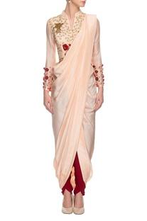 Nude embroidered draped sari set