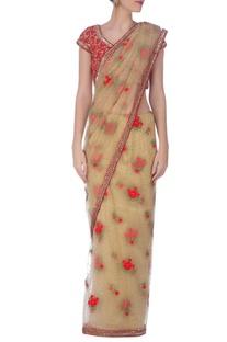 Beige & red embroidered sari�